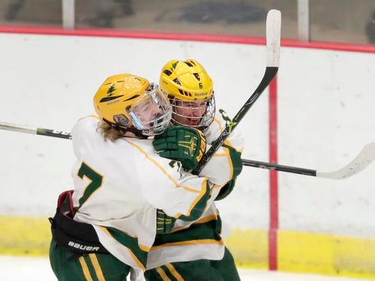 D.C Everest's Ty Tretter, right,  celebrates with teammate Ryan Begley after Begley scored a first-period goal in a WIAA boys hockey state quarerfinal matchup with Waukesha North on Thursday at Veterans Memorial Coliseum in Madison.