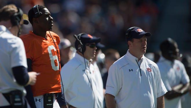 Auburn quarterback Jeremy Johnson (6) looks on during Auburn's NCAA spring college football game Saturday, April 9, 2016, in Auburn, Ala.