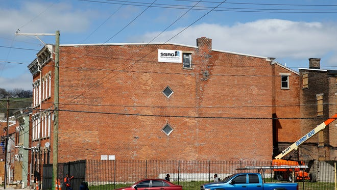 The next Cincinnati Legends Series mural by ArtsWorks will be painted on this building at Pleasant and Liberty Streets in Over-the-Rhine.