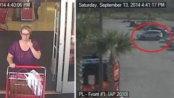 Photo of woman wanted for allegedly stealing wallets from purses in shopping carts.
