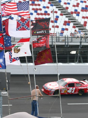 Confederate and other flags fly at Darlington Raceway