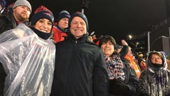 Chris Hogan's parents and fiancee at the AFC Championship