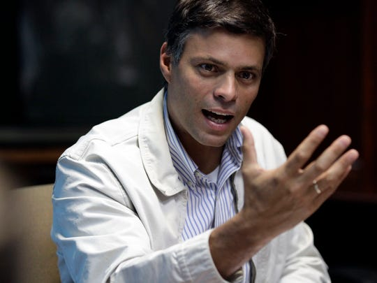 In this 2013 photo, opposition leader Leopoldo Lopez