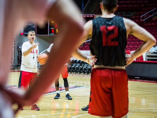 Coach James Whitford directs players through a drill during practice at Worthen Arena Saturday, Sept. 30, 2017.