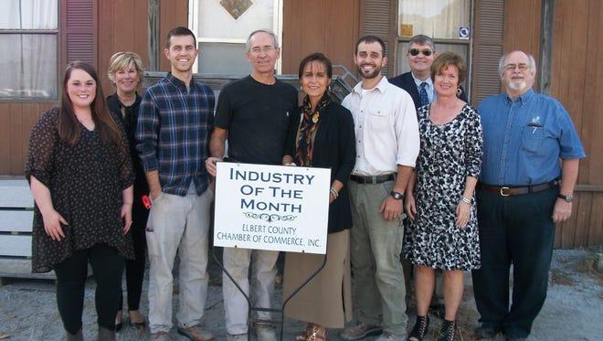 Attendees shown at the recognition (from left) are Lydia Hernandez, Val Evans, Rhett Walker, Marty Walker, Rose Walker, Luke Walker, Bill Daughtry, Pam Brown and Bill Brown.