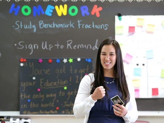 Jennifer Han inspires students in April at Ysleta Middle School, where she took part in Principal for a Day.
