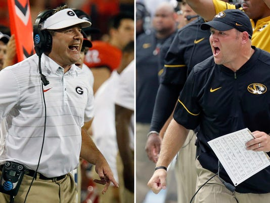 FILE - At left, In a Sept. 16, 2017, file photo, Georgia coach Kirby Smart reacts on the sideline in the second half of an NCAA college football game against Samford in Athens, Ga.At right, in an Oct. 15, 2016, file photo, Missouri head coach Barry Odom shouts encouragement to his players during the first half of an NCAA college football game against Florida, in Gainesville, Fla. Missouri plays at Georgia on Saturday. (Joshua L Jones/Athens Banner-Herald via AP)