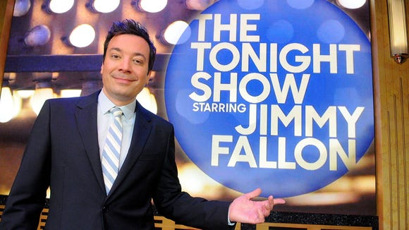 Jimmy Fallon poses during a presentation for the media