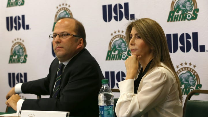 Rhinos owners David and Wendy Dworkin listen to questions
