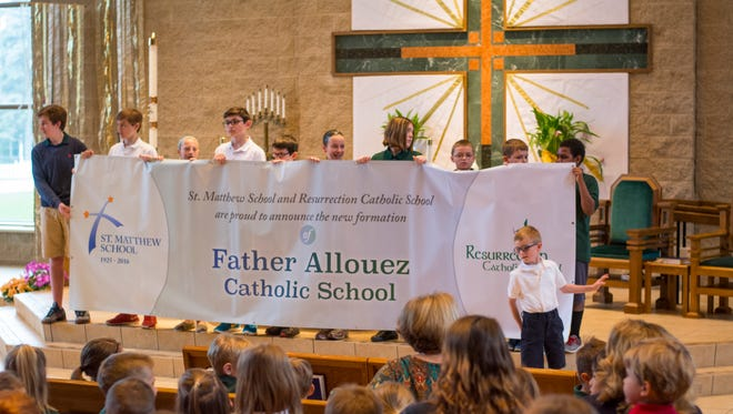 Cutline: St. Matthew and Resurrection schools in Allouez will be merged and renamed Father Allouez Catholic School, the Green Bay Area Catholic Education System announced Thursday.