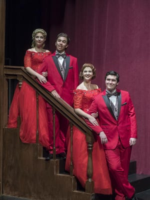 "Kayla Seffing, left, Jonathan Jones, Jordyn White and Jack O'Leary in College of the Sequoias' production of ""White Christmas."""