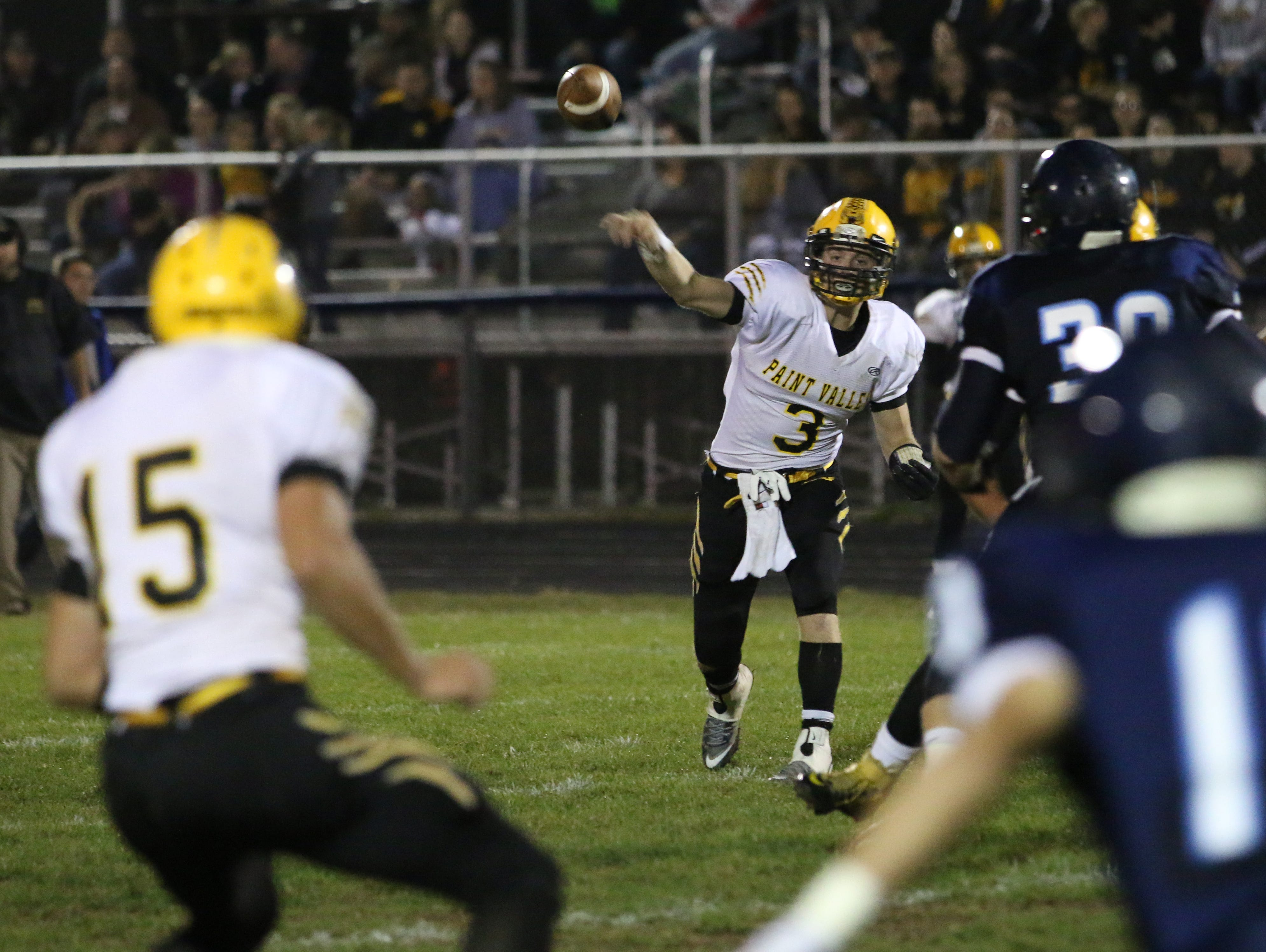Paint Valley's Anthony McFadden throws the ball to a teammate during Paint Valley's game against Adena Friday at Adena High School.