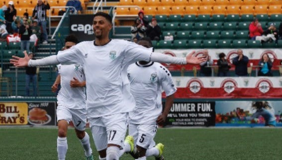 Rhinos midfielder Wal Fall celebrates his free-kick goal that made it 1-0. Credit: Rochester Rhinos.