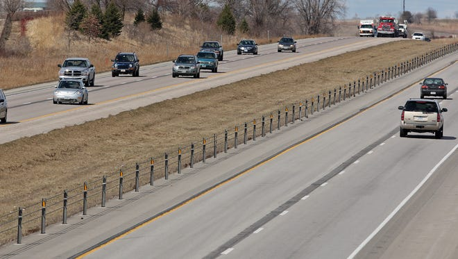 View of Interstate 35 looking north between Ankeny and Ames. Iowa now has more than 300 miles of cable barriers in place along its interstate system.