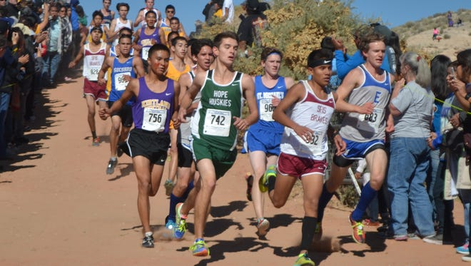 The Ruidoso boys cross country team finishes in 10th place at the state cross country meet in Rio Ranch Nov. 6.