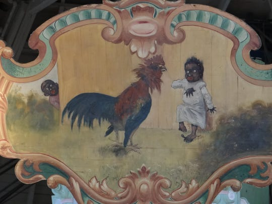 A painted panel at the Ontario Beach Park carousel