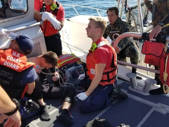 A boat crew from Coast Guard Station Fort Myers Beach