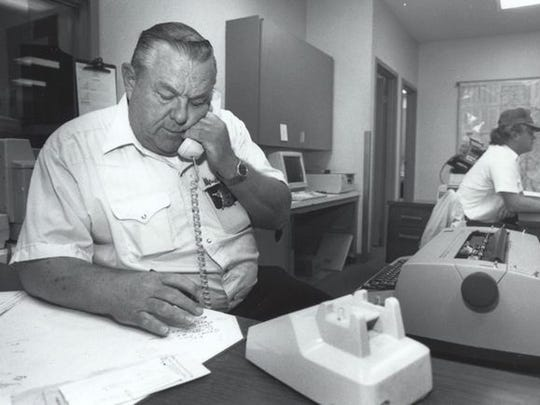 "Sheriff's Deputy Lou Hargraves takes a phone call after the murder of Sally McNelly and Shane Stewart was featured on an episode of ""Unsolved Mysteries"" in 1991."