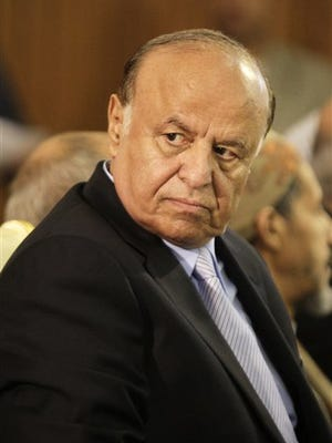 Yemen's president, Abed Rabbo Mansour Hadi, shown in 2012, fled the rebel-controlled capital earlier in March 2015.