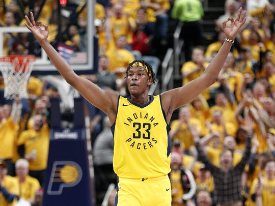 Indiana Pacers center Myles Turner (33) celebrates