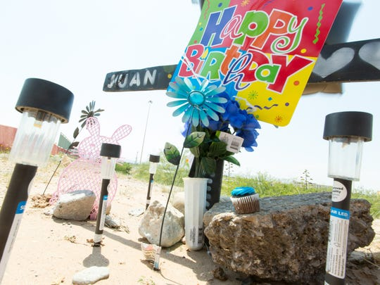 Juan Gabriel Torres' ex-girlfriend Maggie Calderon and their children -- Juan Gabriel Torres Jr., Breeana Torres and Jerry Torres  -- left balloons and a cupcake at a memorial for Torres in June, to commemorate his birthday, near the spot where he died.