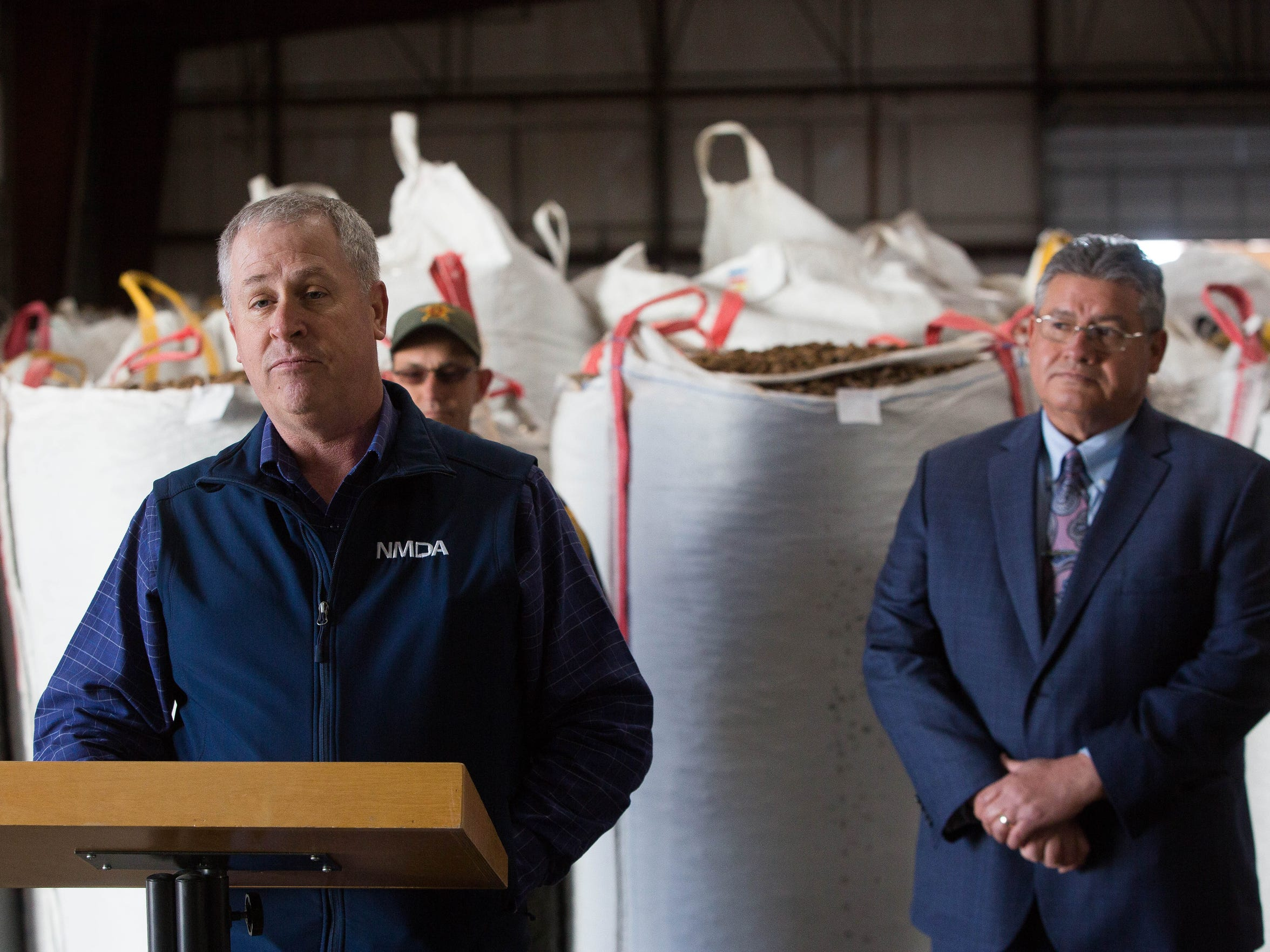 Jeff Witte, New Mexico secretary of agriculture, talks during a press conference about the pecan weevil quarantine and the theft of pecans in southern New Mexico. Wednesday Dec. 20, 2017 at San Saba Pecan.
