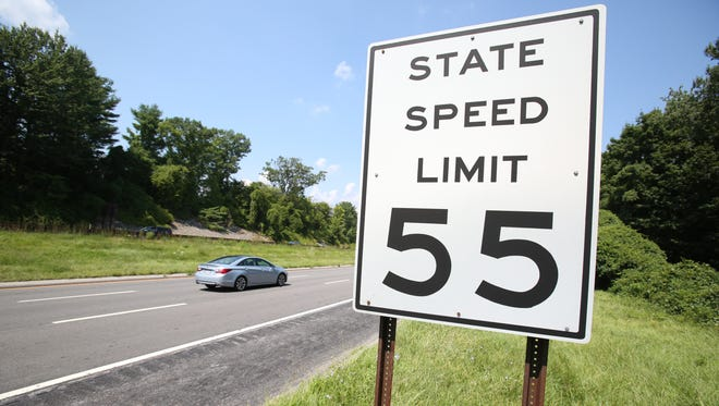 The speed limit sign just above 15.3 mile northbound marker on the Taconic State Parkway in Yorktown on Aug. 17, 2015.