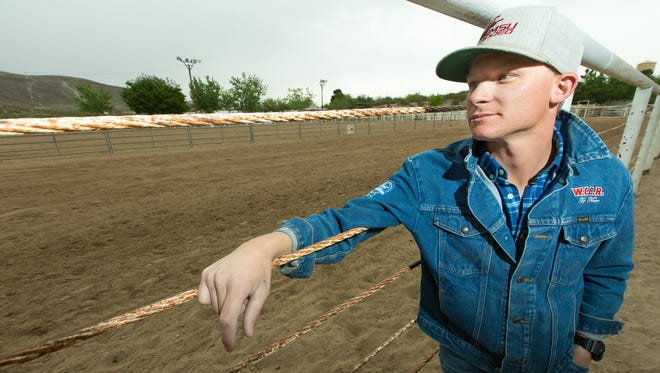 Logan Corbett, New Mexico State University's new rodeo coach is pictured at the NMSU Rodeo Arena on Thursday, April 7, 2016.