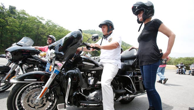 New York State Governor Andrew Cuomo and Sandra Lee lead a motorcycle tour promoting the new state program on breast screenings on June 27, 2016.  They stop at Bear Mountain for a press conference.