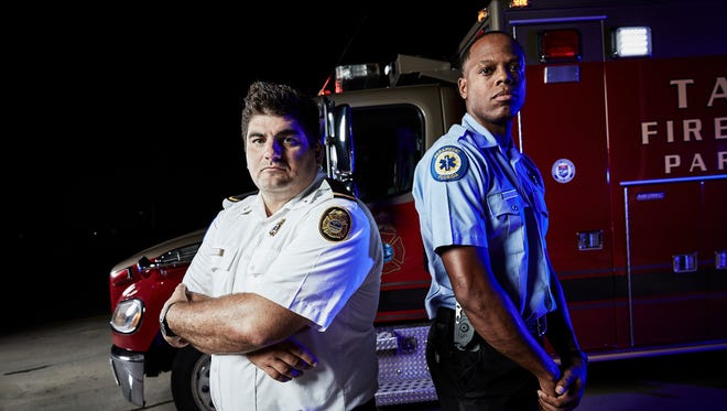 """Lt. Rush Roberts with partner John Rutledge Jr. for the A&E Network show """"NightWatch."""""""