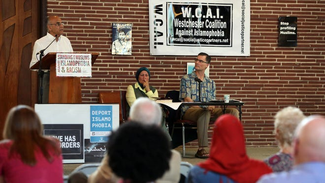 """Khusro Elley, a trustee of the Upper Westchester Muslim Society, speaks at a discussion called """"Countering Islamophobia - Dispelling Misconceptions about Islam"""" hosted by Westchester Coalition against Islamophobia July 16, 2017 in White Plains."""