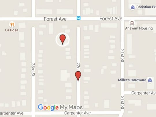 Google map shows approximate location where bodies of two dead men were found early Friday morning, Sept. 11, 2015.