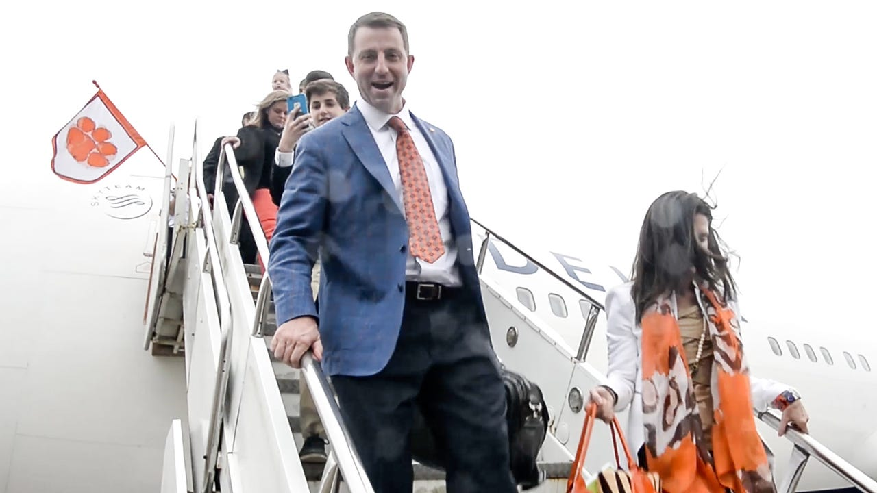Clemson football team arrives at the Louis Armstrong New Orleans International Airport on Wednesday, December 27, 2017 for the College Football Playoff semi final Sugar Bowl game.