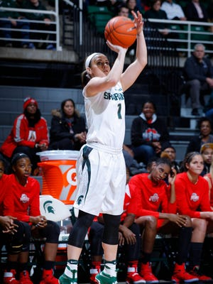 Michigan State's Tori Jankoska shoots a 3-pointer against Ohio State that put her two points over the previous MSU career scoring record Tuesday, Jan. 10, 2017, in East Lansing, Mich.