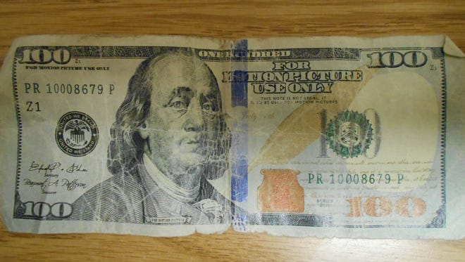 "State police at Horseheads caution businesses of the circulation of counterfeit ""movie money,"" like this bill recovered Aug. 30 by the Elmira Police Department. The bills say ""For motion picture use only."""
