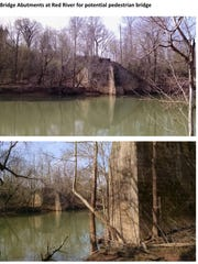 This pair of images shows the old railroad bridge that is planned to be used for the Greenway bridge over the Red River.