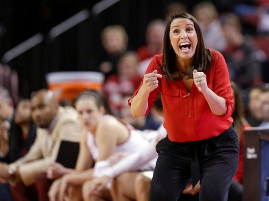 Nebraska coach Amy Williams calls instructions during the first half of the team's NCAA college basketball game against Illinois in Lincoln, Neb., Thursday, Feb. 1, 2018. With a 62-47 win over Illinois, Nebraska has won five straight and eight of its last nine. (AP Photo/Nati Harnik)