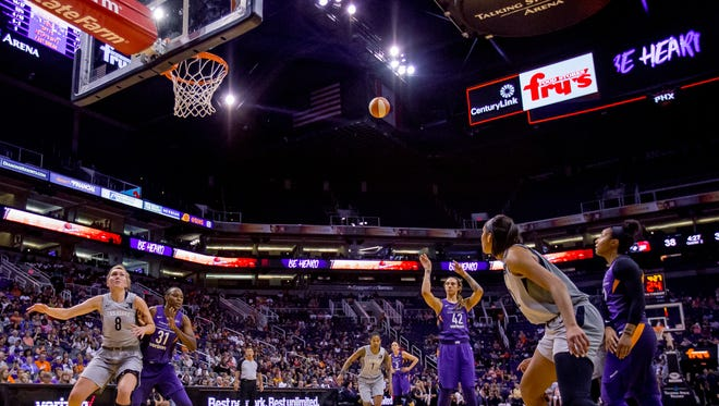 Phoenix Mercury center Brittney Griner takes a free throw during the first half of the Mercury's matchup against the Las Vegas Aces on Sunday, June 10, 2018, at Talking Stick Resort Arena in Phoenix, Arizona.