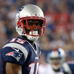 New England Patriots Reggie Wayne in the first half of an NFL football game against the New York Giants Thursday, Sept. 3, 2015, in Foxborough, Mass. (AP Photo/Winslow Townson)
