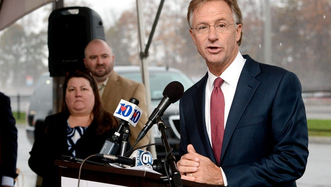 Tennessee Gov. Bill Haslam stopped in Alcoa in November on a statewide tour discussing  the state's transportation and infrastructure needs.