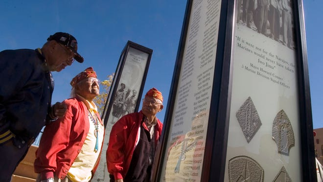 Dec. 15, 2017: Navajo Code Talkers Teddy Draper Sr., second from left, died Thursday in Prescott, Ariz. at the age of 96. Draper, who was part of the 5th Marine Division, fought in the Battle of Iwo Jima and received a Purple Heart as well as a Congressional Silver Medal.