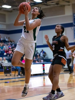 Cedar Park guard Gisella Maul, going in for a layup last season, scored 27 points, added nine steals, eight rebounds and played strong defense in a win over Lake Travis last week.
