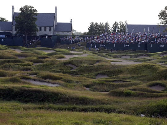 A general view of the 18th hole, grandstands and clubhouse during at the PGA Championship at Whistling Straits.