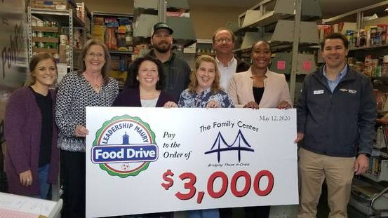 Leadership Maury's class of 2020 presents a check for $3,000 to The Family Center food pantry in Columbia on Tuesda. The donation was part of $12,000 raised for four Maury County food pantries as part of Leadership Maury's recent Maury Food For All food drive.