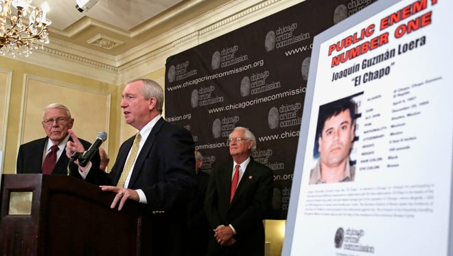 Al Bilek, executive vice president of the Chicago Crime Commission, Jack Riley, Special Agent In Charge for the DEA, Chicago Field office, and Peter Bensinger former administrator of the U.S. Drug Enforcement Administration announce that Joaquin ``El Chapo'' Guzman, a drug kingpin in Mexico, is Chicago's  Public Enemy No. 1.