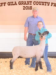 Avery Wenzel was the exhibitor of this fifth place blackface Class 5 lamb at the Gila Cliff Grant County Fair. LT Cattle Company was the buyer.