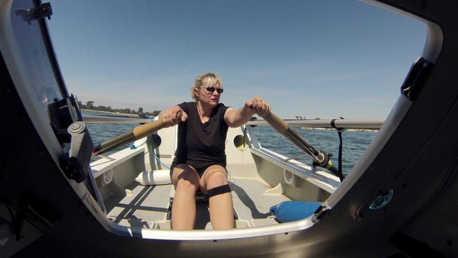 San Tan Valley-area resident Mary Rose practices rowing in San Diego's Mission Bay in May. Rose is competing in the Great Pacific Race, in which she will row her boat solo from Monterey, Calif., to Honolulu.
