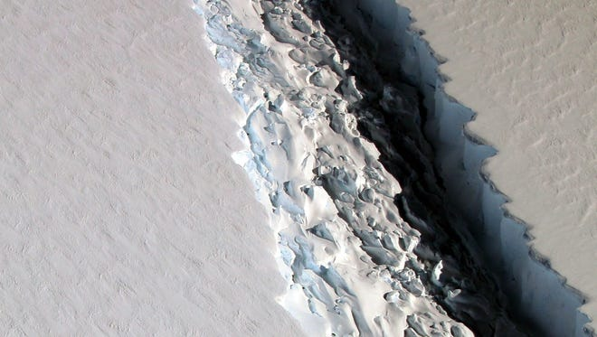 A 70-mile-long crack in an ice shelf off Antarctica could produce an iceberg about the size of Delaware, NASA says.