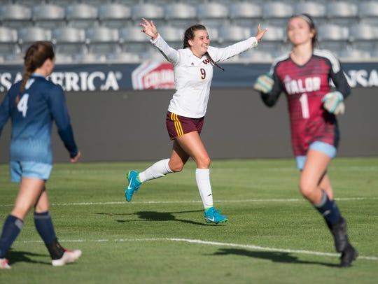Windsor's Chaynee Kingsbury celebrates a goal against