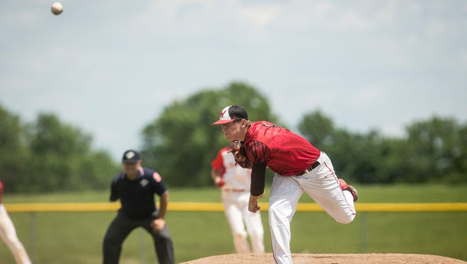 Zack Thompson throws during Wapahani's 5-1 loss to Frankton at the Class 2A Frankton Sectional championship game on Monday at Frankton Elementary.